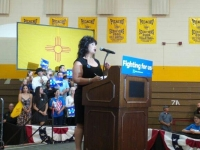 Representative Gallegos speaks at rally in Las Cruces
